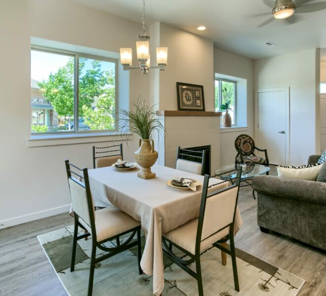 dining room table in a home at Meadowbrook Park Condos in Ashland Oregon