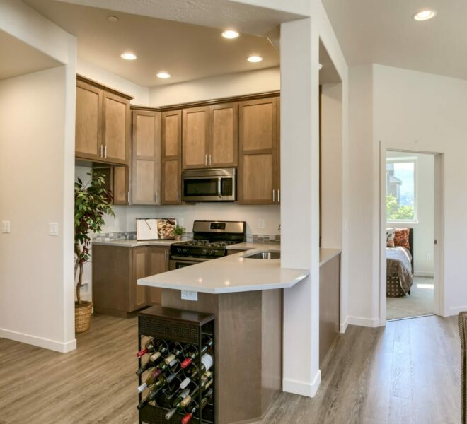 kitchen of a home in Meadowbrook Park Condos in Ashland Oregon