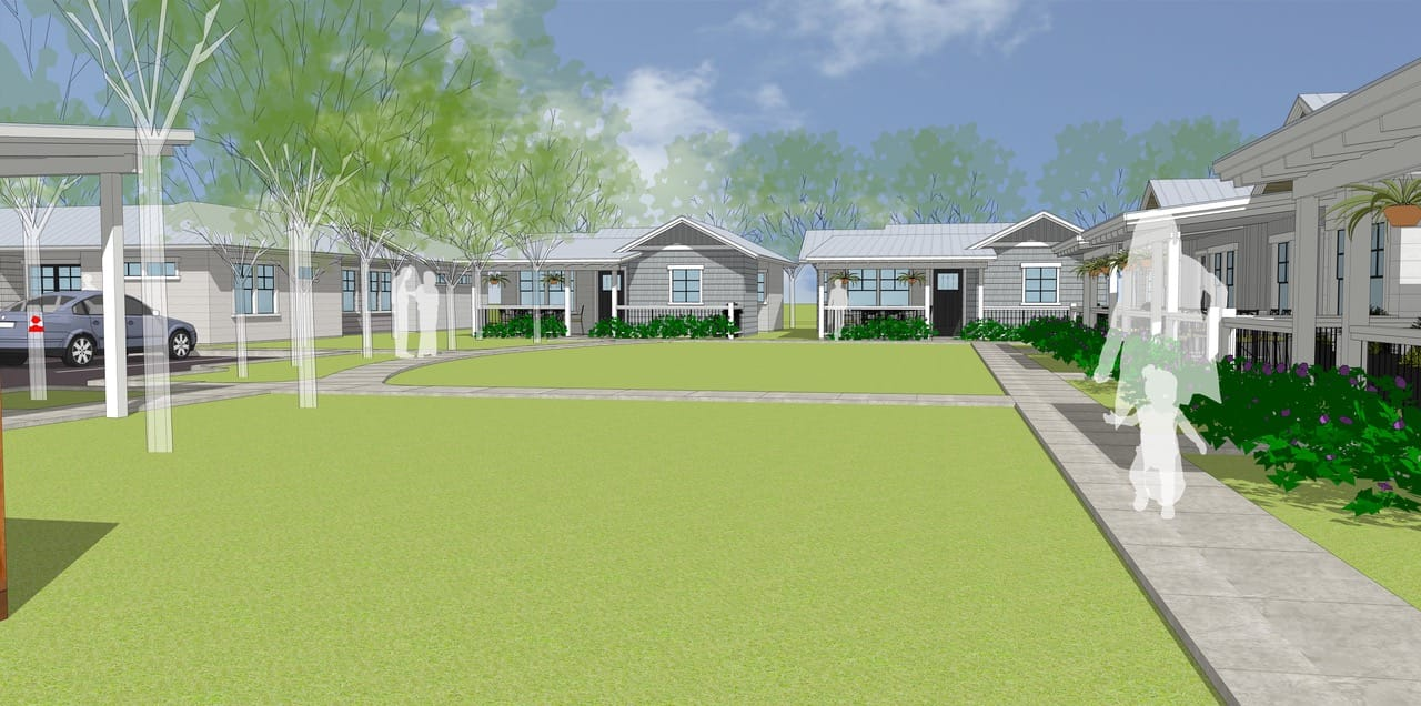Rendering of a Common Area at The Garden Cottages Community In Ashland, Oregon