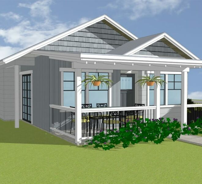 Close Up Rendering of a cottage at The Garden Cottages Community In Ashland, Oregon