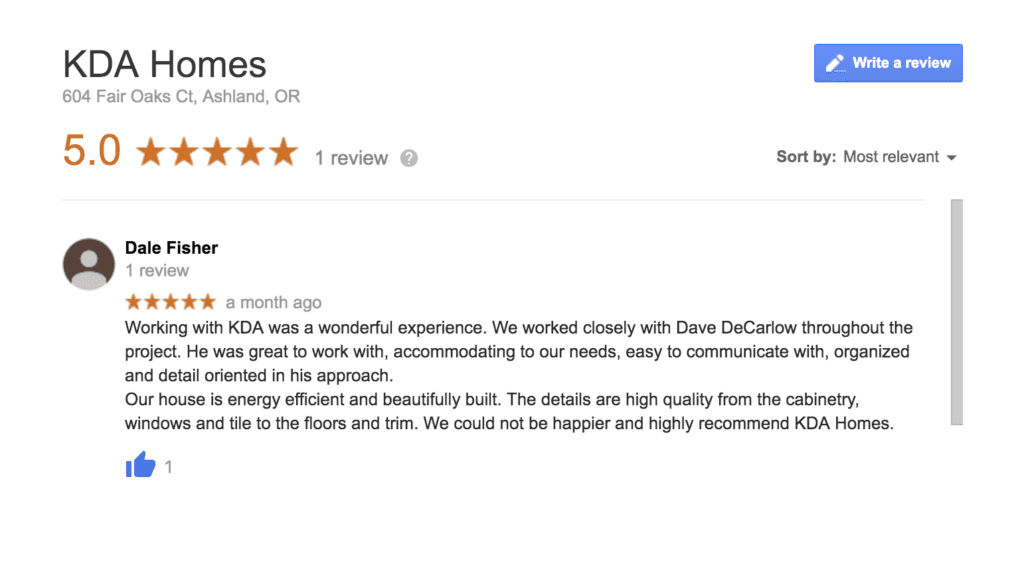 Google review left by a happy KDA Homes customer